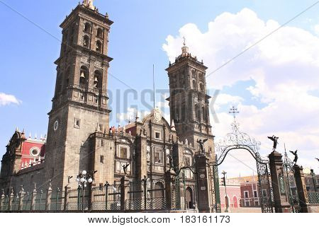 Cathedral basilica on central square, Puebla de Zaragoza, Mexico. UNESCO world heritage site