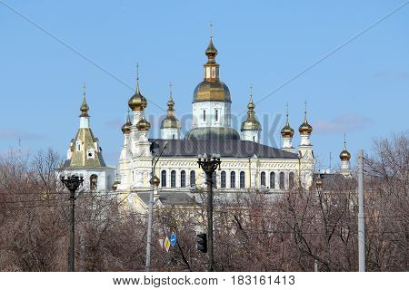 KHARKOV, UKRAINE - APRIL 19, 2011: It is an architectural monument - the Holy Intercession Orthodox Monastery in the historical center of the city.
