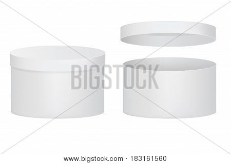White round box. Vector illlustration isolated on white background
