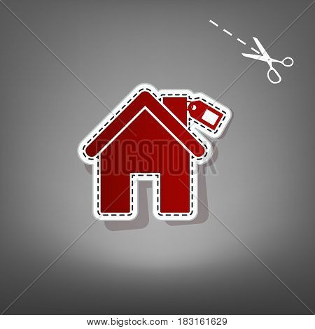 Home silhouette with tag. Vector. Red icon with for applique from paper with shadow on gray background with scissors.