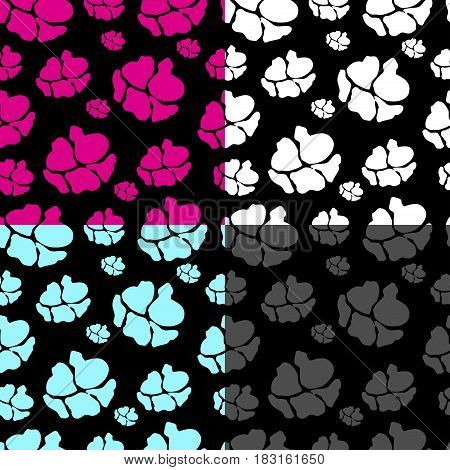 Abstract seamless pattern with Flowers are silhouetted. Vector