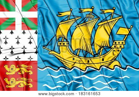 3D Flag Of Saint Pierre And Miquelon, France.