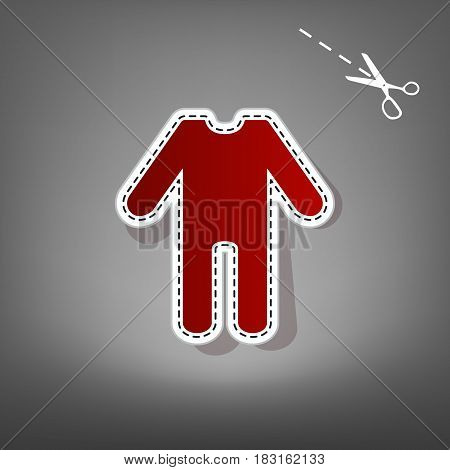 baby clothes sign. Vector. Red icon with for applique from paper with shadow on gray background with scissors.