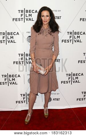 NEW YORK-APR 22: Andie MacDowell attends the Love After Love' screening at SVA Theatre during the 2017 TriBeCa Film Festival on April 22, 2017 in New York City.