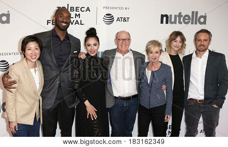 NEW YORK-APR 22: Kobe Bryant (2nd L) and cast attend the 'Dear Basketball' screening at SVA Theatre during the 2017 TriBeCa Film Festival on April 22, 2017 in New York City.