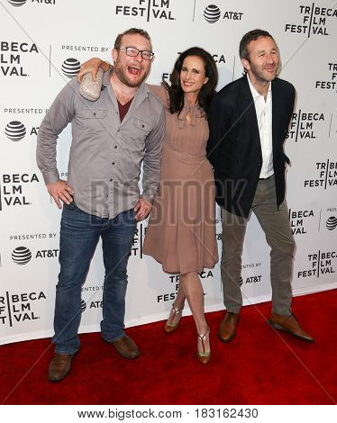 NEW YORK-APR 22: (L-R) James Adomian, Andie MacDowell and Chris O'Dowd attend the Love After Love' screening at SVA Theatre during the 2017 TriBeCa Film Festival on April 22, 2017 in New York City.