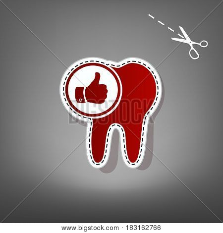 Tooth sign with thumbs up symbol. Vector. Red icon with for applique from paper with shadow on gray background with scissors.