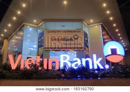 HO CHI MINH CITY VIETNAM - NOVEMBER 28, 2016: Vietinbank. Vietinbank is a state-owned Vietnamese bank founded in 1991.
