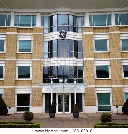 Bracknell, England - April 17, 2017: The exterior of the GE office building in Bracknell, England. GE has had business operations in the United Kingdom since the 1930's