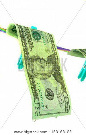 banknote 20 american dollars isolated on a white background