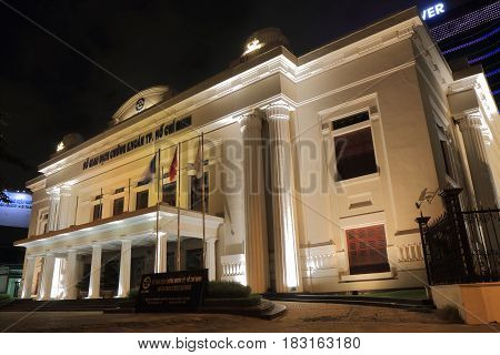 HO CHI MINH CITY VIETNAM - NOVEMBER 28, 2016: Ho Chi Minh Stock Exchange building.