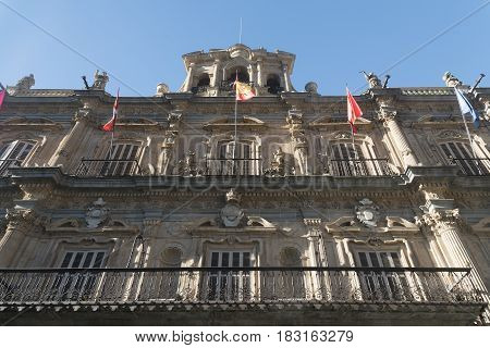 Salamanca (Castilla y Leon Spain): historic building in Plaza Mayor the main square of the city
