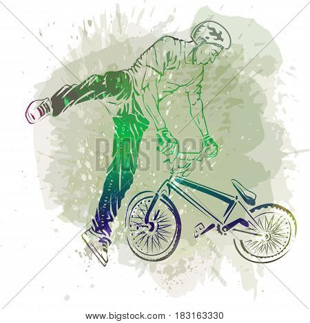 Bike rider Jumping On A Artistic Abstract Background
