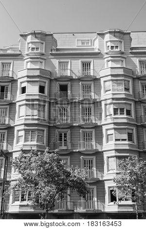 Barcelona (Catalunya Spain): building in the Avinguda del Paral-lel. Black and white