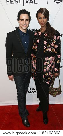 NEW YORK-APR 22: Designer Zac Posen (L) and Model Iman attend the 'House Of Z' screening at SVA Theatre during the 2017 TriBeCa Film Festival on April 22, 2017 in New York City.