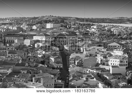 Toledo (Castilla-La Mancha Spain): panoramic view from the medieval walls. Black and white