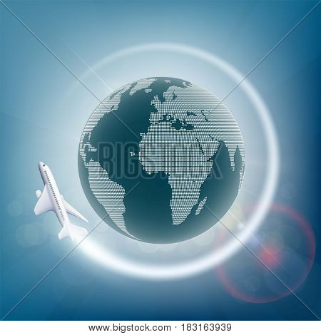 Plane flies around the planet earth. Stock vector illustration.