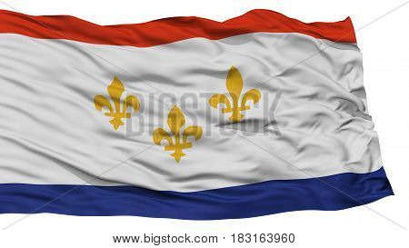 Isolated New Orleans City Flag, City of Louisiana State, Waving on White Background, High Resolution