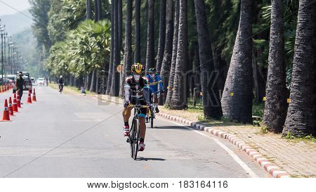 Dongtan Beach Thailand - April 23 2017 : Cyclist of cycling race on the road in