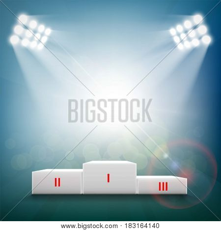 Podium for sports awards. Stock vector illustration.