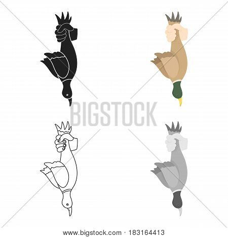 Hunted duck icon in cartoon style isolated on white background. Hunting symbol vector illustration.