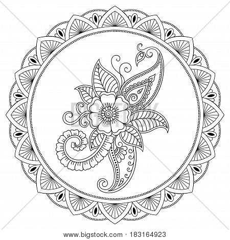 A circular pattern in the form of a mandala. Henna tattoo flower template in Indian style. Ethnic floral paisley. Mehndi style. Decorative pattern in oriental style.