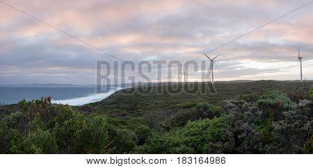 Albany wind farm panorama at sunset, Western Australia