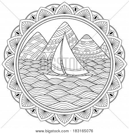 Doodle pattern in black and white. Landscape Pattern for coloring book. Mountains, rivers, hills, sea, boat, yacht, shore, sail, wave, ocean - coloring book for children and adults. A circular pattern in the form of a mandala.