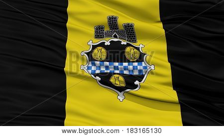 Closeup of Pittsburgh City Flag, Waving in the Wind, Pennsylvania State, United States of America