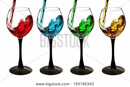 A cocktail of splash is poured into the glass set isolated on white background