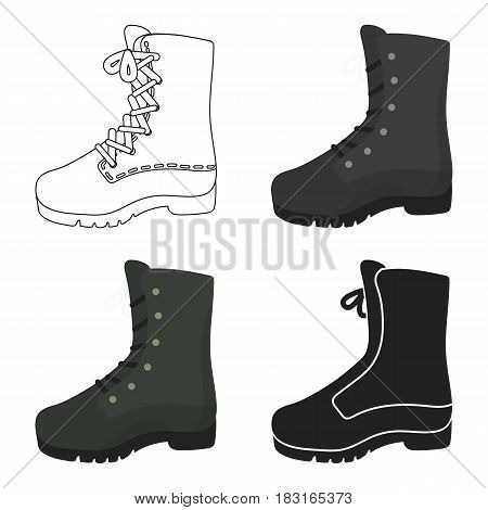 Combat boot icon in cartoon style isolated on white background. Hunting symbol vector illustration.