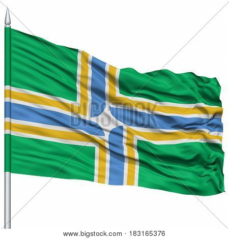 Portland City Flag on Flagpole, Oregon State, Flying in the Wind, Isolated on White Background