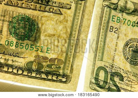 banknote 20 american dollars on a white background