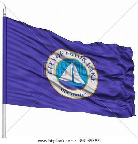Prior Lake City Flag on Flagpole, Minnesota State, Flying in the Wind, Isolated on White Background