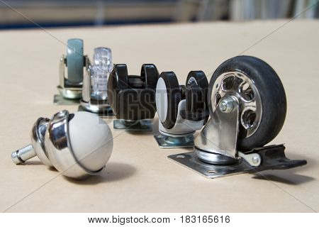 Furniture accessories. Wheel for sofa and tables. Roller for furniture.