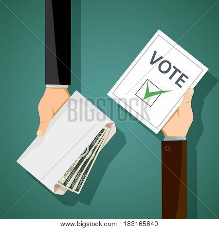 Bribery of voters in elections. Man holds an envelope with money in his hand. Stock vector illustration.