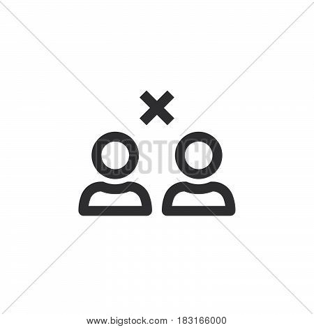 Break Relations Symbol. Remove From Friends Line Icon, Outline Vector Logo Illustration, Linear Pict