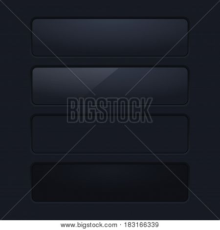 Black rectangle interface buttons. Blank app elements on dark background. Vector illustration
