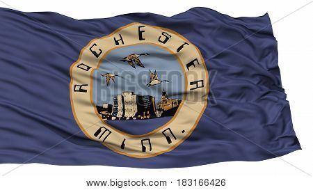 Isolated Rochester City Flag, City of Minnesota State, Waving on White Background, High Resolution