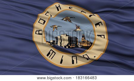 Closeup of Rochester City Flag, Waving in the Wind, Minnesota State, United States of America