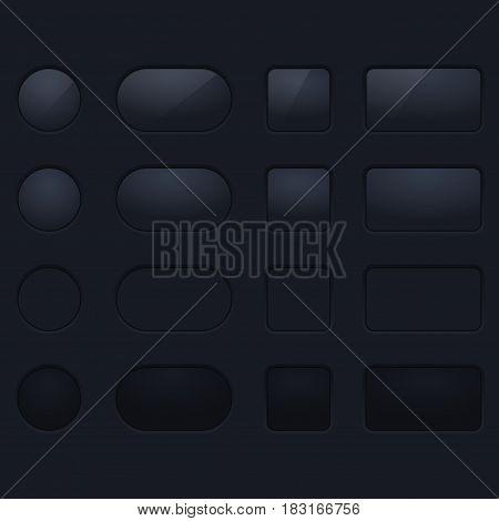 Black plastic interface buttons. Blank app elements on dark background. Vector illustration