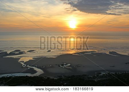 sunset over the English Channel in France