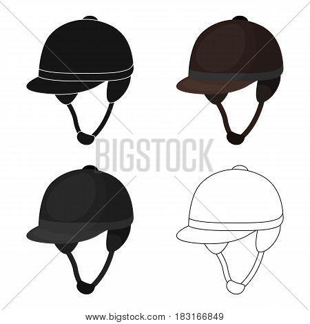 Jockey's helmet icon in cartoon design isolated on white background. Hippodrome and horse symbol stock vector illustration.