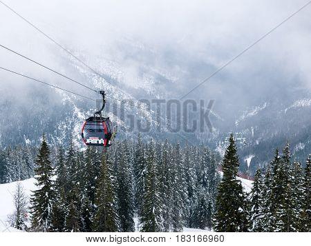 Jasna Chopok Slovakia 6 March 2017 - Cable car in ski resort Jasna Chopok in Slovakia. Tatra lower mountains.