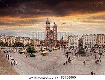 KRAKOV, POLAND - JULY 14, 2016: Church of St. Mary in the main Market Square. Basilica Mariacka. Krakow Poland