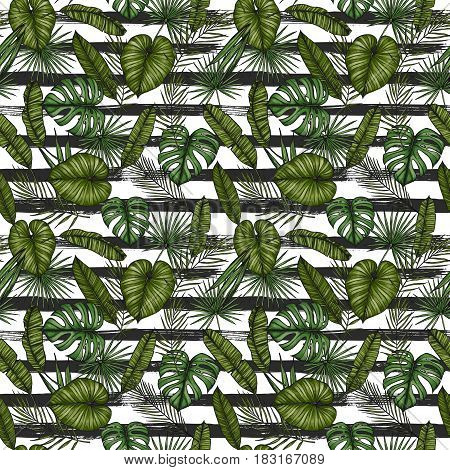 Tropical Seamless Pattern. Background With Palm Leaves (monstera, Areca Palm, Fan Palm, Banana Leave