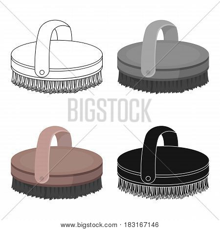 Horse body brush icon in cartoon design isolated on white background. Hippodrome and horse symbol stock vector illustration.