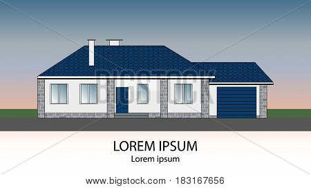 Suburban family house with garage tiled roof and grey brick facade. Icon with place for your text. Vector illustration.