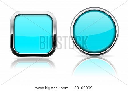 Blue turquoise buttons. Shiny glass square and round buttons with chrome frame. Vector illustration on white background