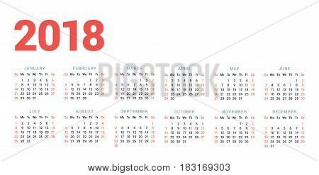 Calendar For 2018 Year On White Background. Week Starts On Sunday. 6 Columns, 2 Rows. Simple Vector